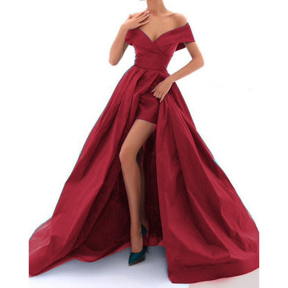 New Satin Off the Shoulder A Line Sexy High Slit Women Ball Dress for Dance Formal Prom Evening Gown for Marine Corps