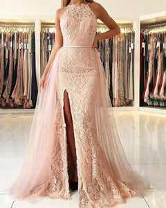 Pink Lace Mermaid Long Senior  Prom Dress for Gradation Winter Formal Gown