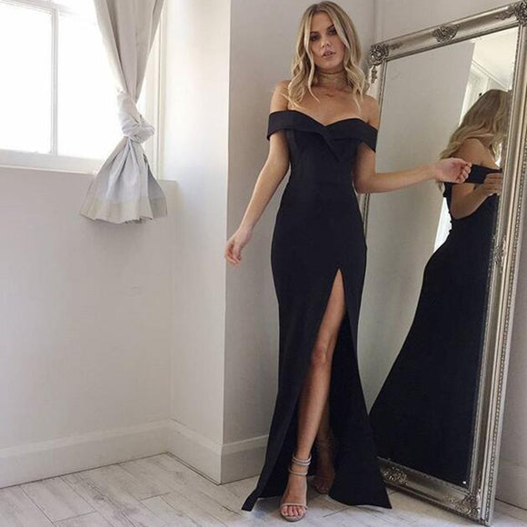 Off Shoulder Slit Sexy Black Long Evening Party Dress Prom Gown