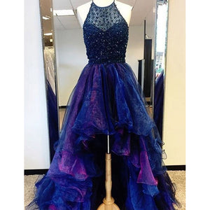 Siaoryne High Low Prom Dress Beading Blue and Fuchsia Two Tunes Evening Outfits 2020