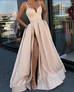 Nude Long Women Evening Formal Dresses with Straps PL668
