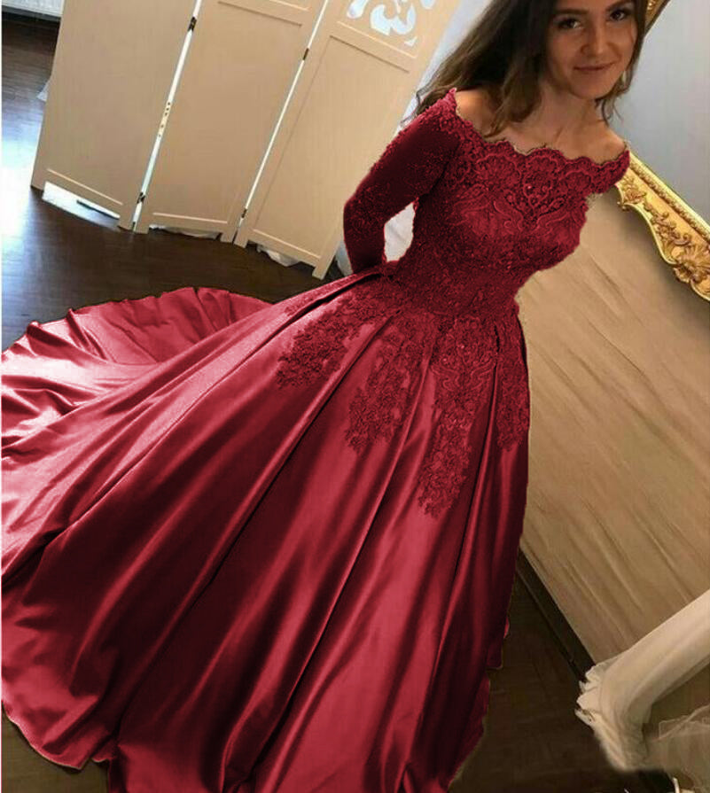 Off Shoulder Burgundy Lace Satin Ball Gown Wedding Dress