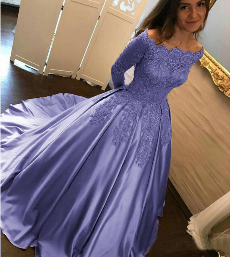 51cc3ffc736 ... LP2888 Off the Shoulder Ball Gown Prom Dress with lace Long Sleeves  Satin Formal Dresses 2018 ...