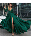 LP887 Emerald  Sexy Deep V Neck Long Sleeves Evening Dresses Long Formal Party Gowns ,floor Length Prom dresses women Ball Dress