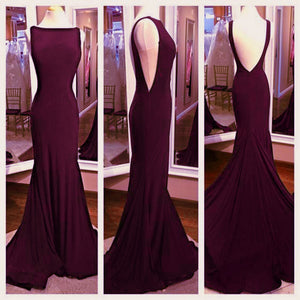 Stylish Grape Boat neck Sexy Sheath/Mermaid Evening Dresses,Sexy Prom Long Dress,party Dresses 2020