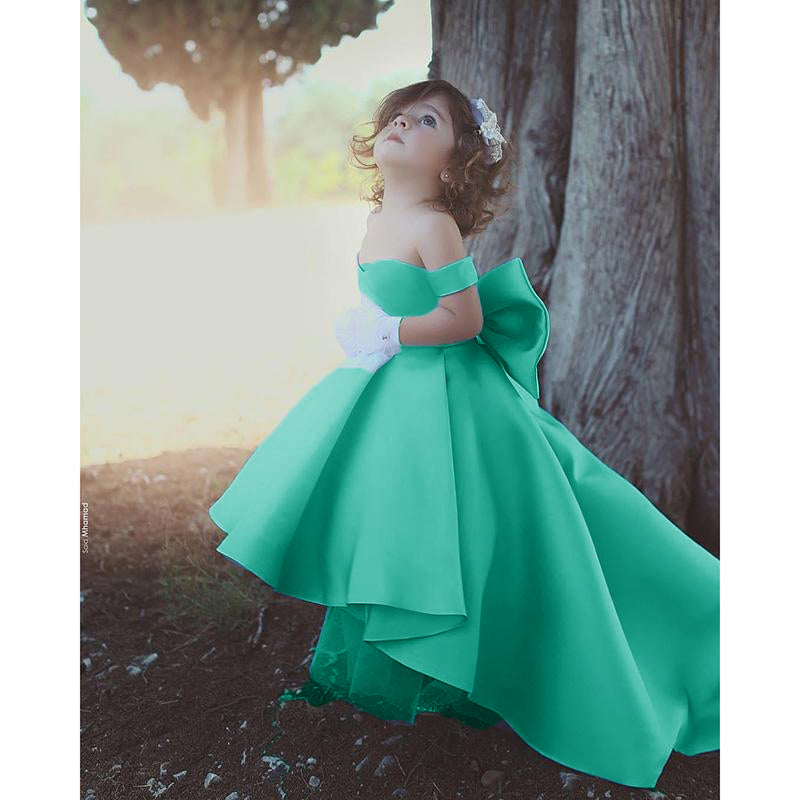 1d6072513d ... Siaoryne Flower Girl Dresses Blue Ball Gown Child Evening Party Gowns  with Bow first communion dresses ...