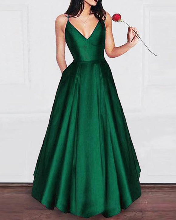 Elegant Dark Green A Line Satin Prom Gown Long Graduation Party Dresses with Pocket