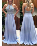 Gorgeous Chiffon Halter Long Lavender Prom dress with Beading PL2110
