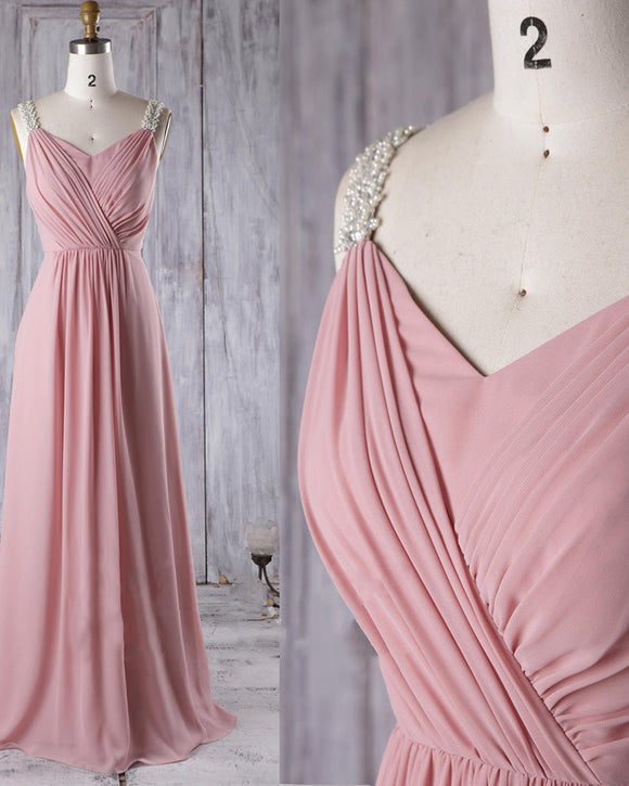 Elegant  Pleated Chiffon Dust Pink /beige  Wedding Party Dress  Women Bridesmaid Dress Long with Pearl Beaded Straps PL06081