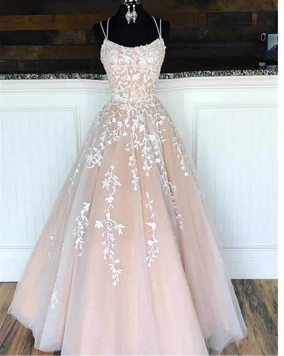 Flattering Colorful Nude/ivory Lace Wedding Dress Gown Cross Tie Back WD10108
