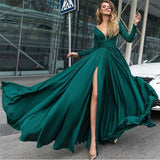 Olive Green Prom dress Long Sexy Deep V Neck evening Party Dress slit Leg  LP2208