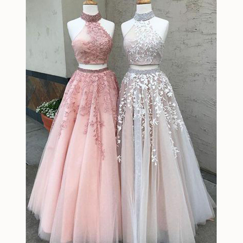 52ec1f0125 ... LP5525 Halter High Neck Top Blush Pink Prom Dresses Two Pieces Crop Top Evening  Gown Girls ...