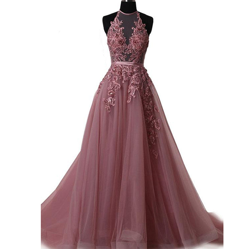 1b5f9ba0920 LP3285 Lotus Pink A Line Tulle Lace Halter Prom Dress