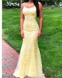 Amazing Halter Yellow Lace Mermaid /Trumpet  Prom Dress 2020 Long Graduation Gown for Girls LP1201