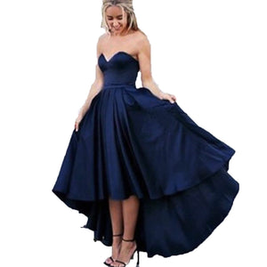 Siaoryne LP0829 Satin A Line High Low Prom Dress Homecoming Gowns Formal evening Gowns for Teens