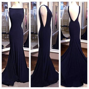 Sexy Backless Navy Long Evening Dresses Women Formal Gowns for Ball 2018