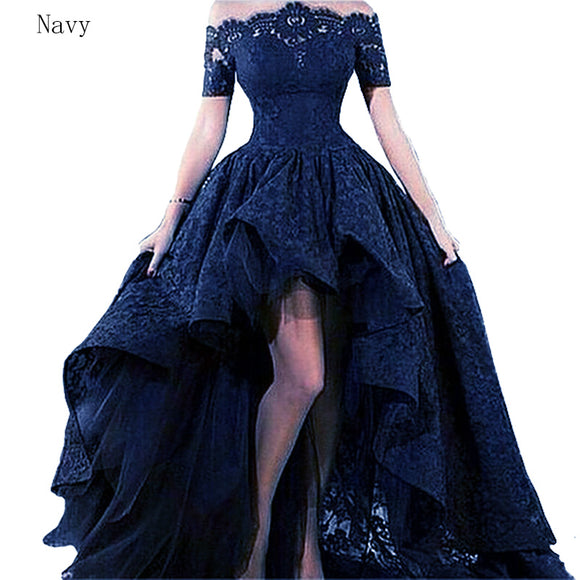 Gorgeous LP1121 Lace Prom Dress Short Sleeve Formal High Low Evening dress 2018 Off The Shoulder Vestido De Festa