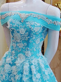 Turquiose Off the Shoulder Formal Gowns Prom Dresses Long with Lace