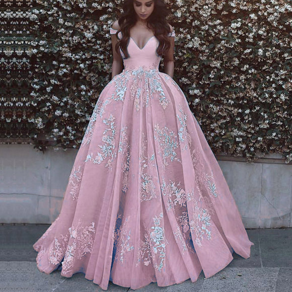 LP6354 Ball Gown Off the Shoulder Pink/Ivory Prom Dress 2018 ,Girls Formal Gown with pocket Pageant Gown