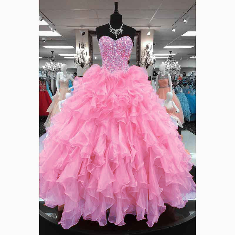 Fuchsia Gown: Coral /Pink Princess Ball Gown Sweetheart Diamond Crystal