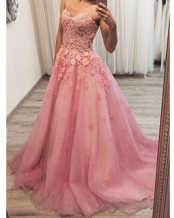Girls Sweetheart Pink Quinceanera Dress Sweet sixteen Ball Gown Prom Dresses PL8457