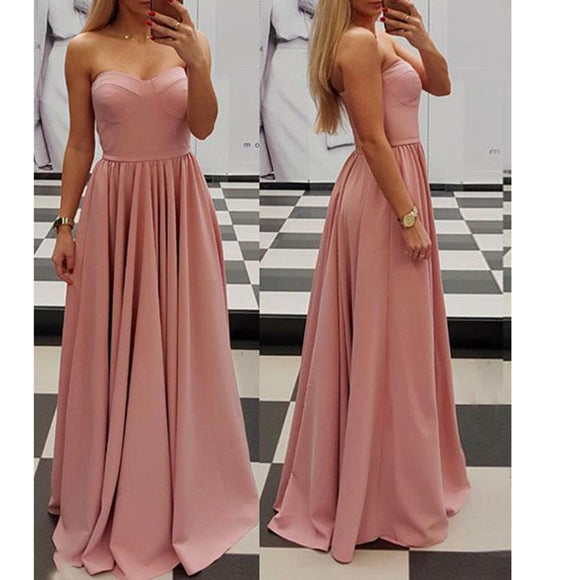 Elegant Pink Sweetheart A Line Prom Dress 2018 Sexy Sleeves Evening Long Dress