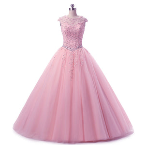 LP7878 Cap Sleeves Lace Appliques Quinceanera Dresses Beaded Sweet 16 Dresses Ball Gown Prom Dresses