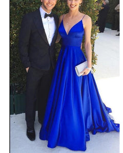 A Line Sarin Royal Blue Women Evening Gown Party Dress Long 2020 with Spaghetti Straps LP1156