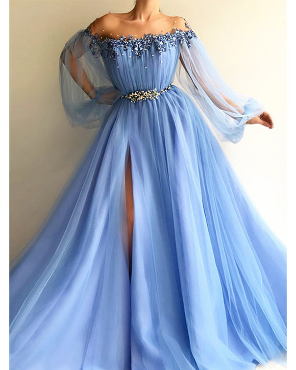 Off The Shoulder Long Evening Dresses 2021 Puff Sleeves Appliques Beaded Tulle Split Sky Blue Maternity Party Prom Gowns PL01118