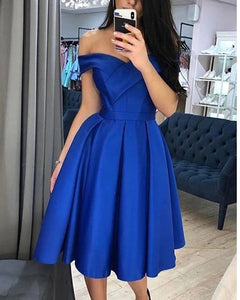 Cute Royal Blue/Yellow/Red  off Shoulder  Short Prom Dress Juniro Girls Graduation Cocktail Outfits SP11151