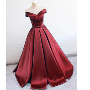Elegant Off the Shoulder A Line Satin Wine Red Prom Dresses 2018 robe de soirée