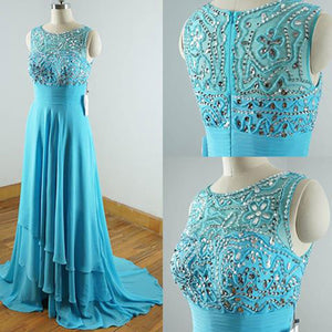 LP654 Scoop Neck Turquoise Prom Dress Long Beading Evening Gown Vestido De Festa 2018