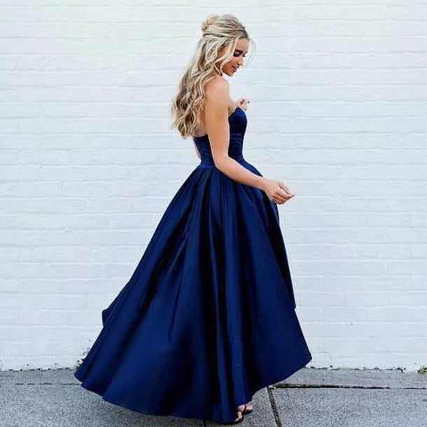 cc3b4d105c47 ... Sweetheart Navy Blue Front Short Long Back Satin Prom Dresses formal  Gown party Dress ...