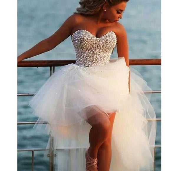 Siaoryne LP0926 high Low Wedding Dresses Beach with Pearl Front short Long Back bridal Gowns
