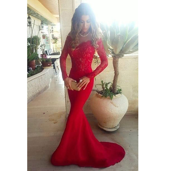 Elegant Long Sleeves Mermaid Prom Dresses,red Evening Gowns for Women,Formal Dresses 2020