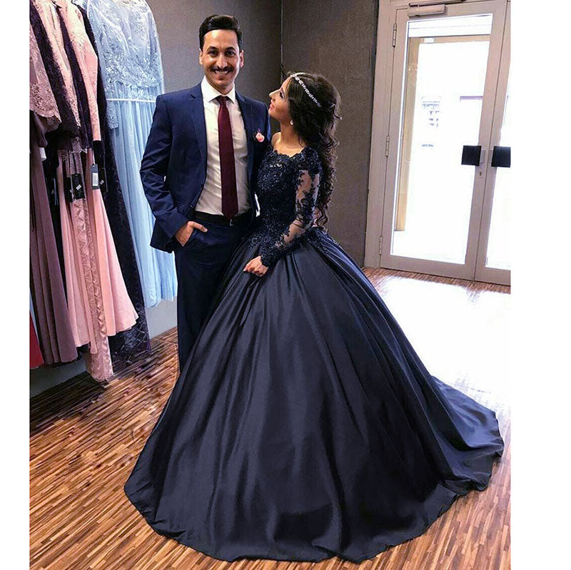 Princess Embellished Long Sleeves Navy Blue Prom Dresses Ball Gown