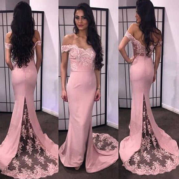 LP2123 Off the Shoulder Mermaid Lace Bridesmaid Dress robe demoiselle d'honneur  Wedding Guest Dress