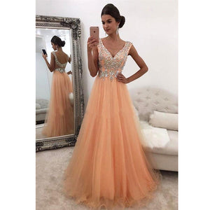 Coral V neck A Line Prom Dresses Long with Appliqued lace Beading Formal Graduation Dresses