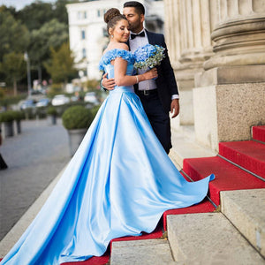 LP6989 Off the shoulder A Line Satin Wedding Dresses Blue bridal dress ,Vestido de Novias 2018