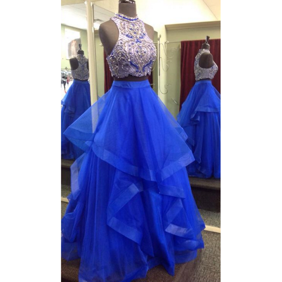 High Neck Halter Blue Prom Dresses Two Pieces ,Crop Top Tiered Skirt Senior Graduation Formal Gowns
