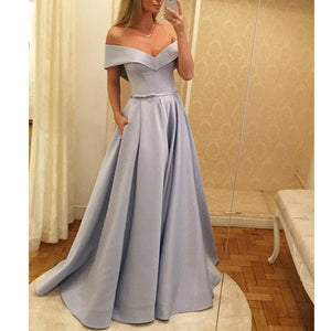 Lavender Off the Shoulder A Line full Skirt Prom Dresses Formal Gowns for Girls