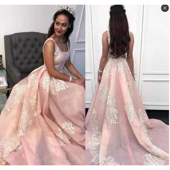 WD5874 Blush/Ivory  Wedding Dress A Line Engagement Dress ,Prom Formal Dresses Court Train