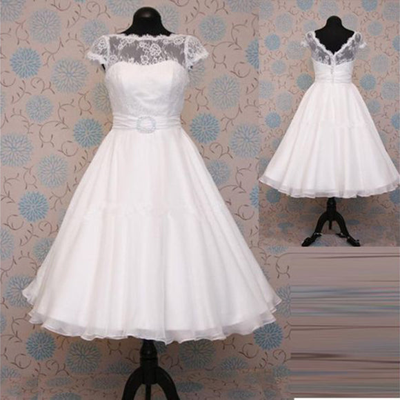 WD9870 Cap Sleeves Lace A Line Short Wedding Dress Bridal Gown