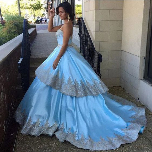 WD894 Sweetheart Ball Gown Satin Gold Appliqued Lace Wedding Dress Princess Blue Bridal dress