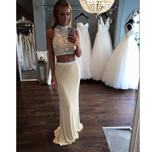 LP7890 Halter Beading Two Pieces Prom Dress Fitted Girls Formal Gown Pageant Dress 2018