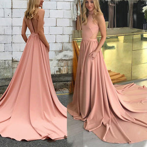LP4887 Halter Coral Pink A Line Evening Party Gown Formal 2018 homecoming prom
