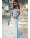 Sky blue/Pink Women Evening Party Long Dresses Off the Shoulder 2019 PL992