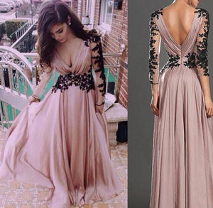 LP5462 Long Chiffon Mother of the Bride Dress with Sleeves Lace Women Formal Gowns