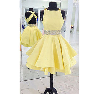 Formal yellow dresses short