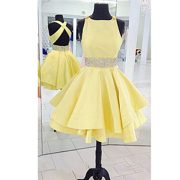 Cross Back Boat Neck Short Party Dress, 8th grade Dance after Prom dresses,Homecoming Dress Short Yellow,semi formal dresses SP087